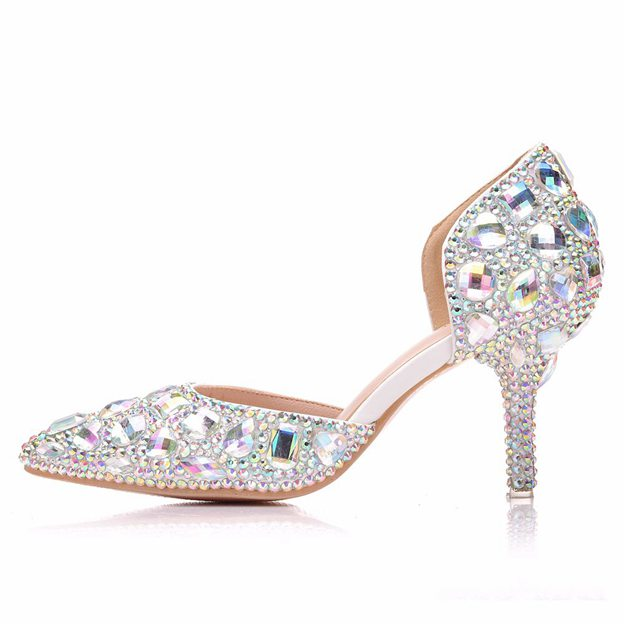 Women's PU With Rhinestone Close Toe Heels Fashion Shoes