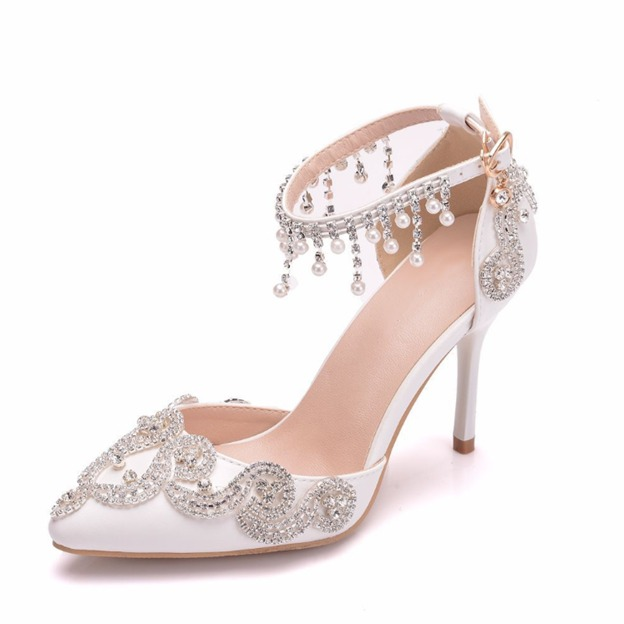 Women's Satin With Imitation Pearl/Beading/Ankle Strap Close Toe Heels Shoes
