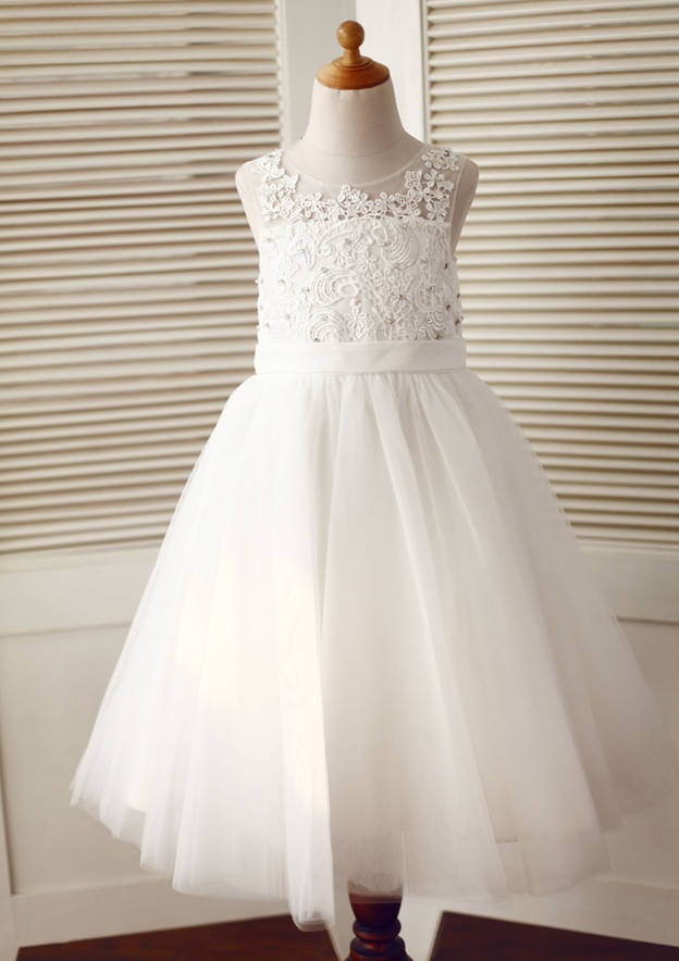 A-line/Princess Knee-Length Illusion Neck Lace/Tulle Flower Girl Dress With Lace