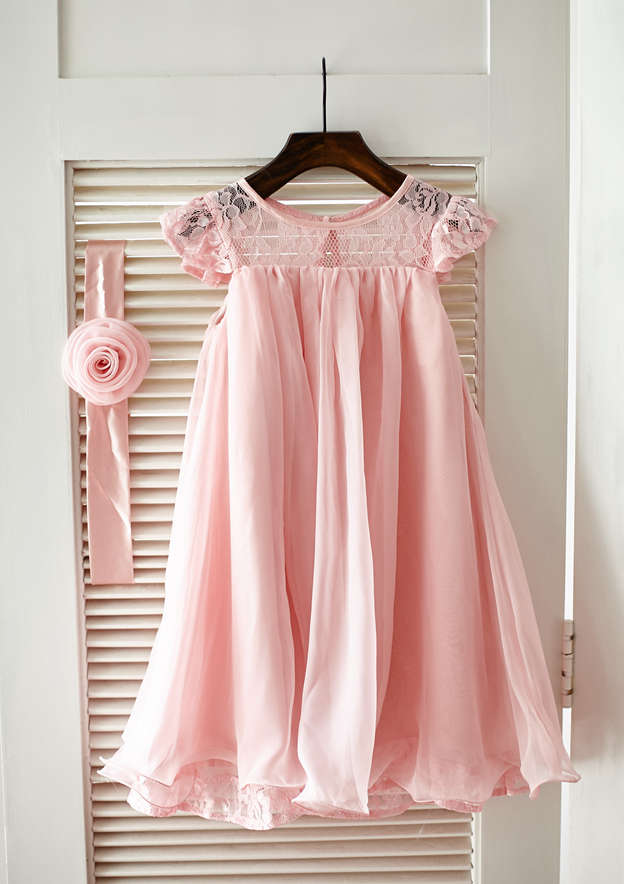 A-line/Princess Knee-Length Scoop Neck Chiffon/Lace Flower Girl Dress With Pleated/Sashes