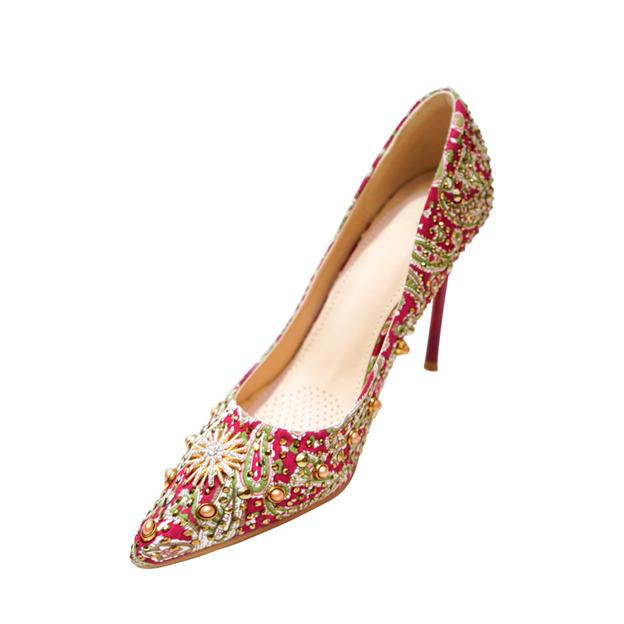 Women's PU With Rhinestone/Lace Close Toe Heels Pumps Wedding Shoes