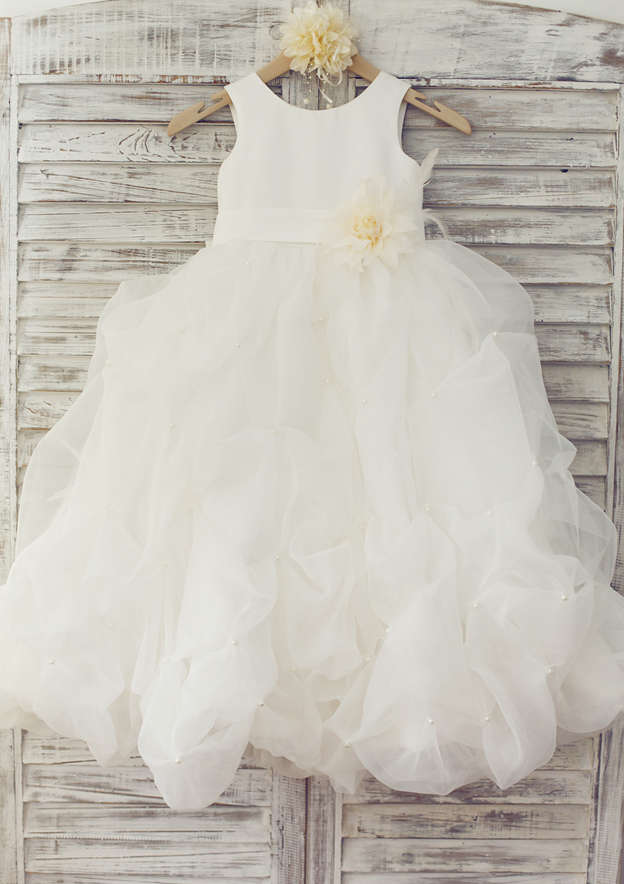 A-line/Princess Knee-Length Scoop Neck Tulle Flower Girl Dress With Bowknot/Flowers