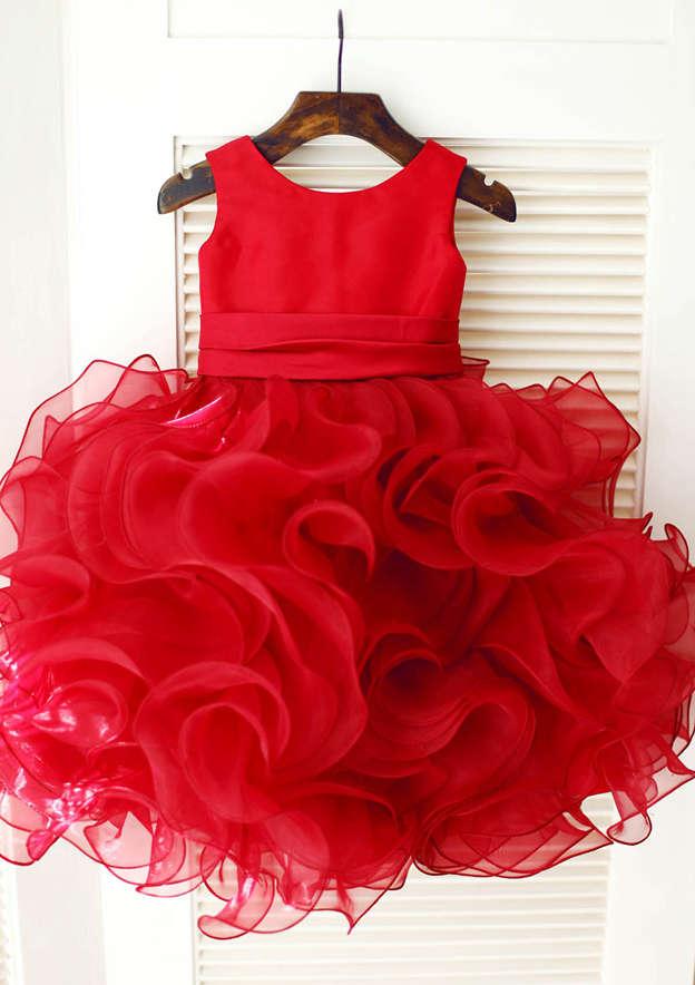 A-line/Princess Knee-Length Scoop Neck Organza/Satin Flower Girl Dress With Flowers/Ruffles