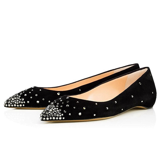 Women's Suede With Rhinestone Close Toe Flats Fashion Shoes