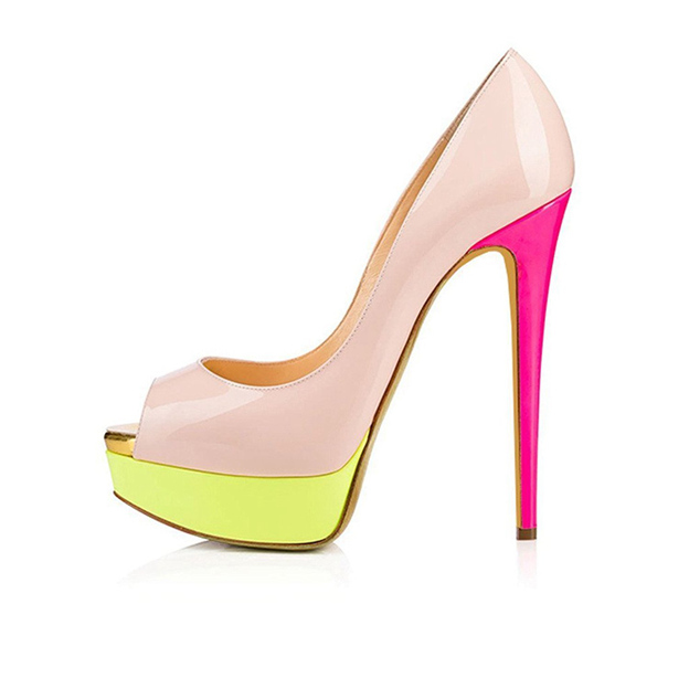 Women's PU Heels Peep Toe Platform Fashion Shoes