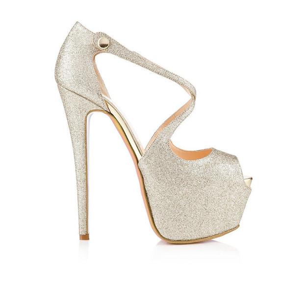 Women's Sparkling Glitter Platform Peep Toe Heels Fashion Shoes