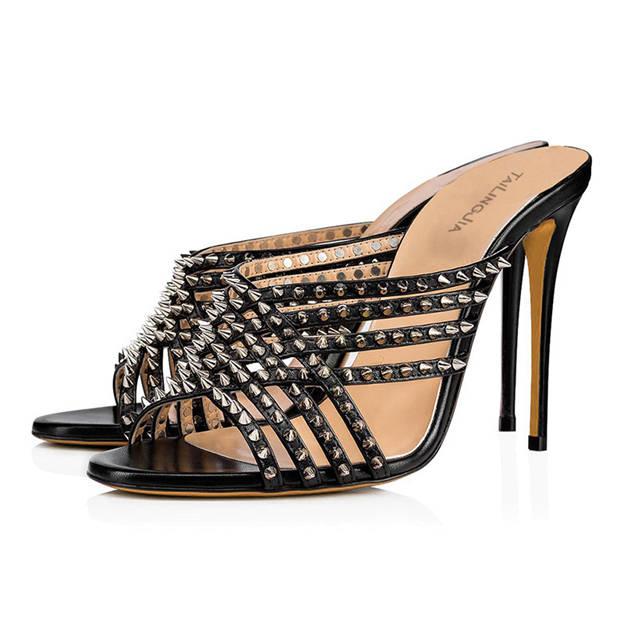 Women's PU With Rivet Flip Flops Heels Fashion Shoes