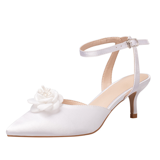 Women's Silk Like Satin With Flowers/Ankle Strap Close Toe SlingBacks Shoes