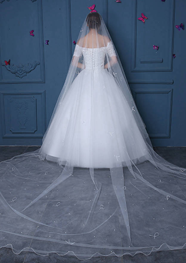One-tier Tulle Cathedral Bridal Veils With Faux Pearl/Bowknot