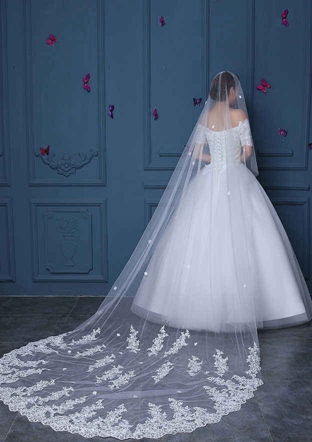 Oval Lace Applique Edge Tulle Cathedral Bridal Veils With Flower