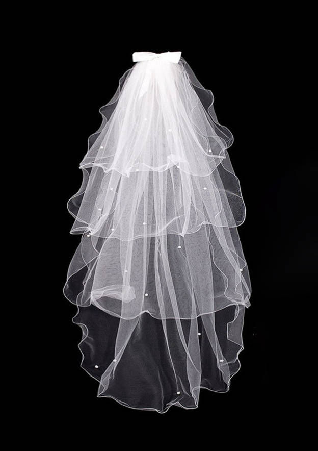 Four-tier Ribbon Edge Tulle Elbow Bridal Veils With Bowknot