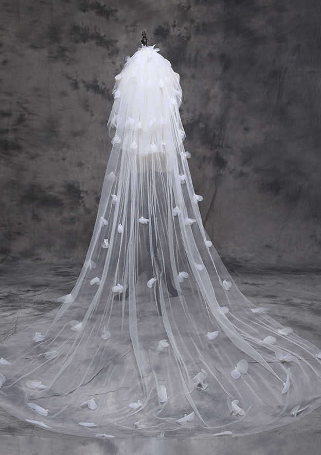 Three-tier Tulle Cathedral Bridal Veils With Faux Pearl/Petal