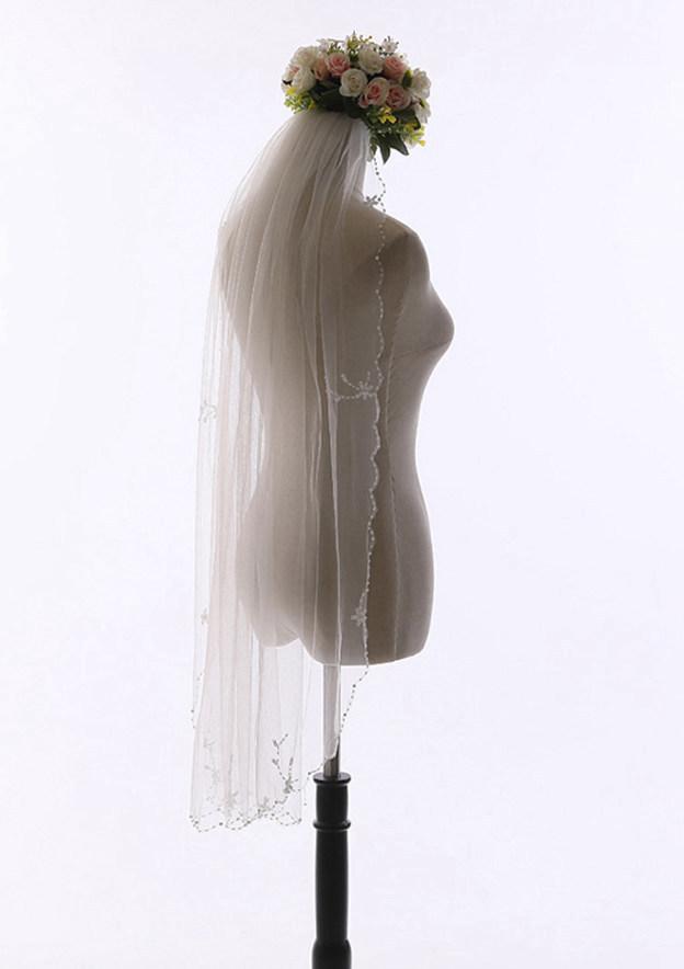 One-tier Beaded Edge Tulle Fingertip Bridal Veils