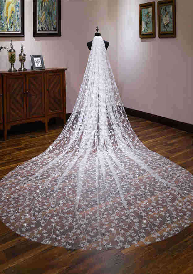 One-tier Tulle Cathedral Bridal Veils With Sparkling Glitter/Flower