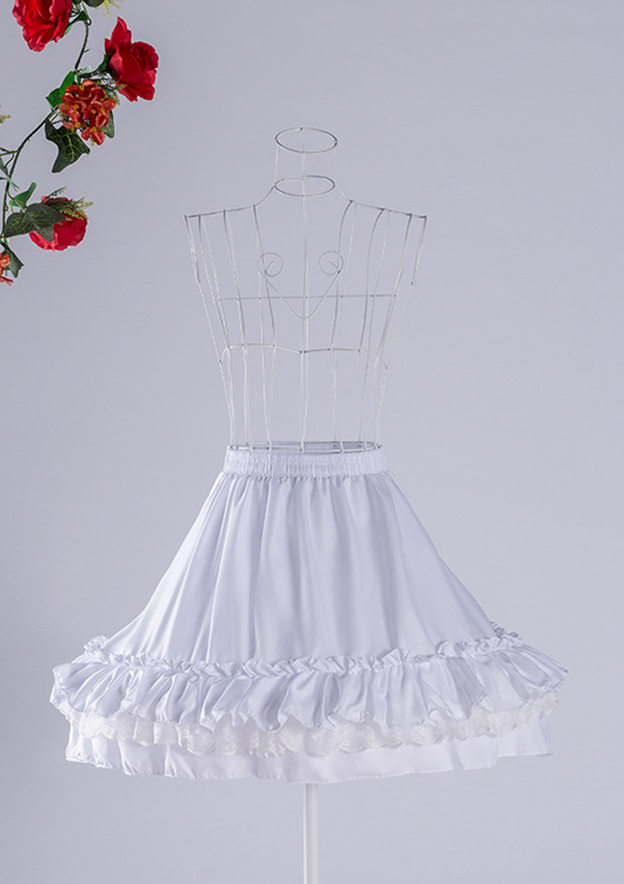 Women Chiffon Lace Short/Mini 3 Tiers Bridal Petticoats