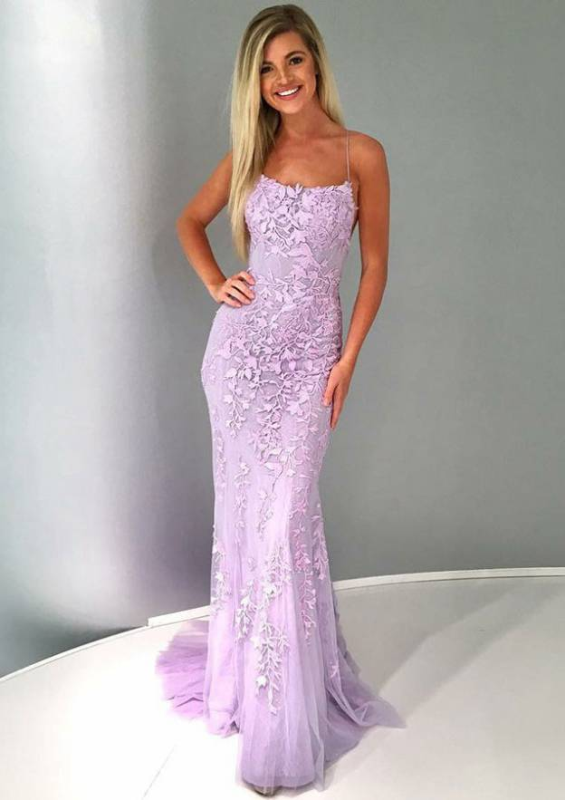 Sheath/Column Square Neckline Sleeveless Court Train Lace Prom Dress With Appliqued