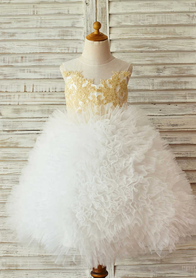 Ball Gown Knee-Length Illusion Neck Lace/Tulle Flower Girl Dress With Appliqued