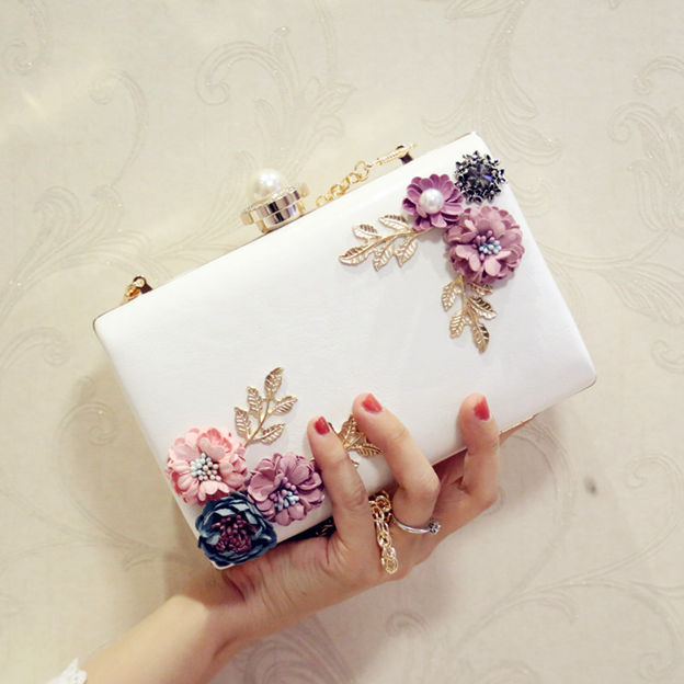 Beautiful PU/Alloy Clutches/Evening Bags With Flower