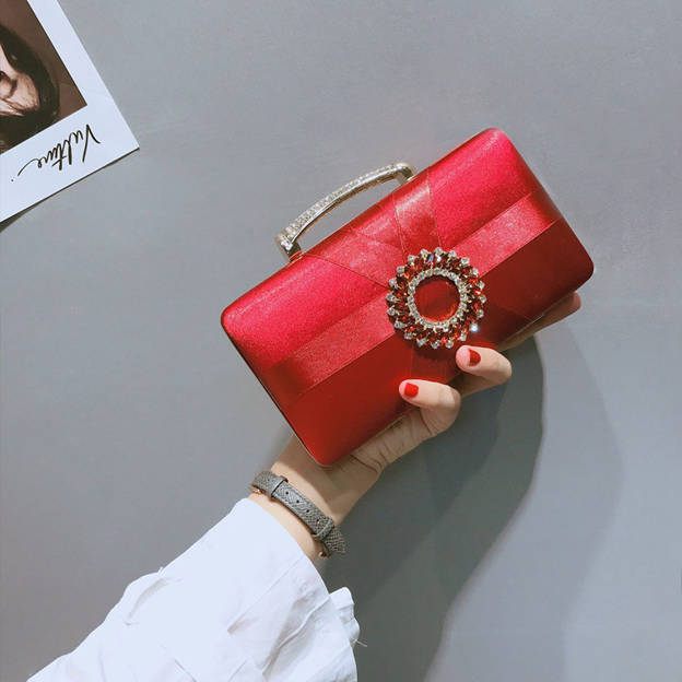 Fashionable Polyester Clutches/Evening Bags With Rhinestone