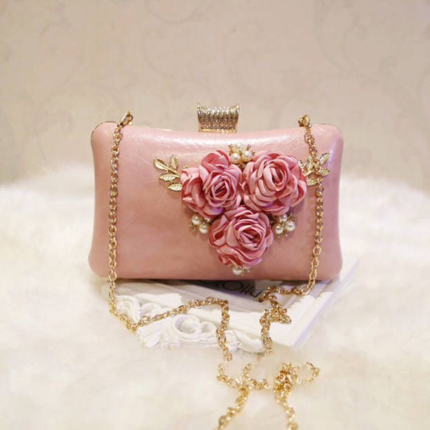 Beautiful PU Clutches/Evening Bags With Flower