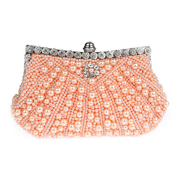 Beautiful Imitation Pearls/Alloy Clutches/Evening Bags With Rhinestone