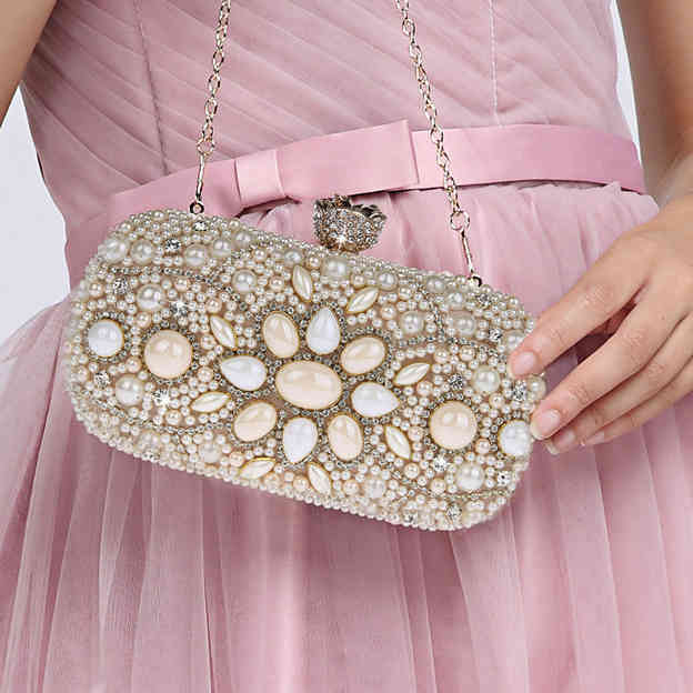 Eye-catching Polyester Clutches/Evening Bags With Imitation Pearls
