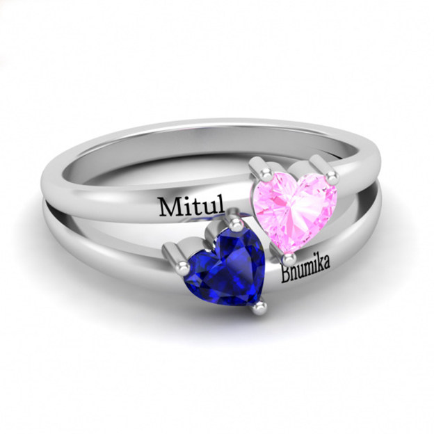Personalized Customized 925 Sterling Silver Two Name Engraved Heart Rings