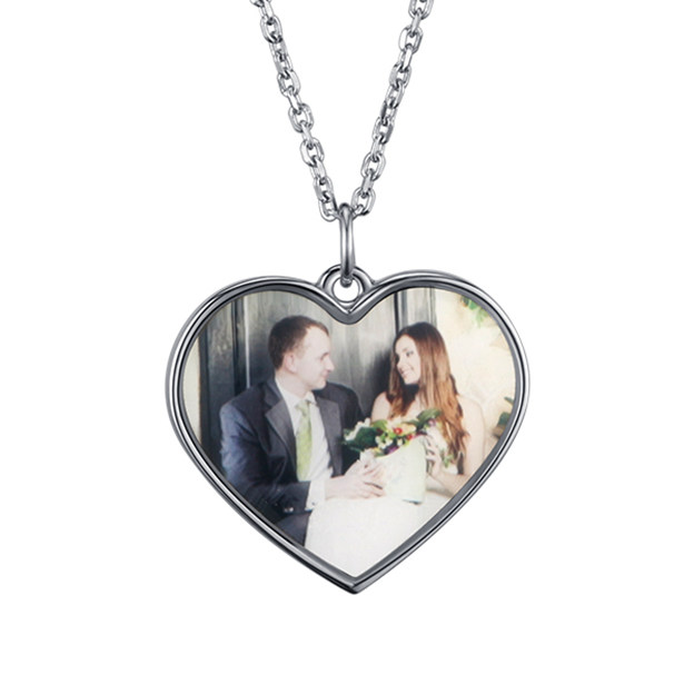 Personalized Customized 925 Sterling Silver One Engraved Photo Heart Necklaces