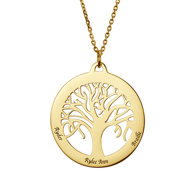 Personalized Customized 925 Sterling Silver Three Name Engraved Family Circle Tree Necklaces