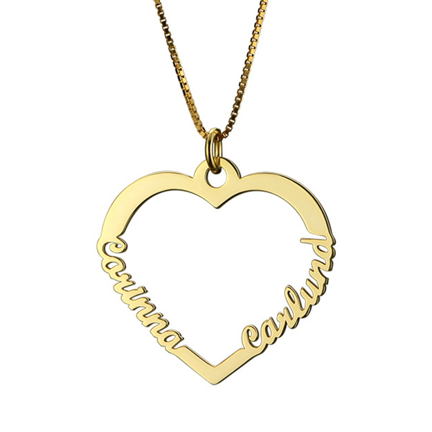 Personalized Customized 925 Sterling Silver Two Name Infinity Heart Necklaces