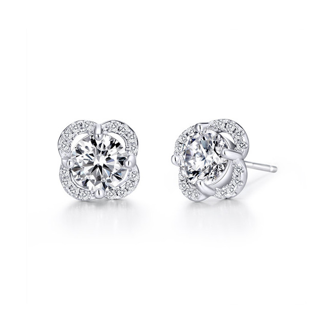 Women's Attractive 925 Sterling Silver Earrings With Cubic Zirconia For Her