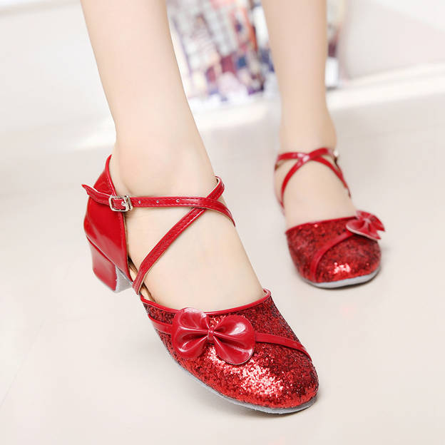 Women's/Girl's PU With Sequins/Bowknot Close Toe Dance Shoes