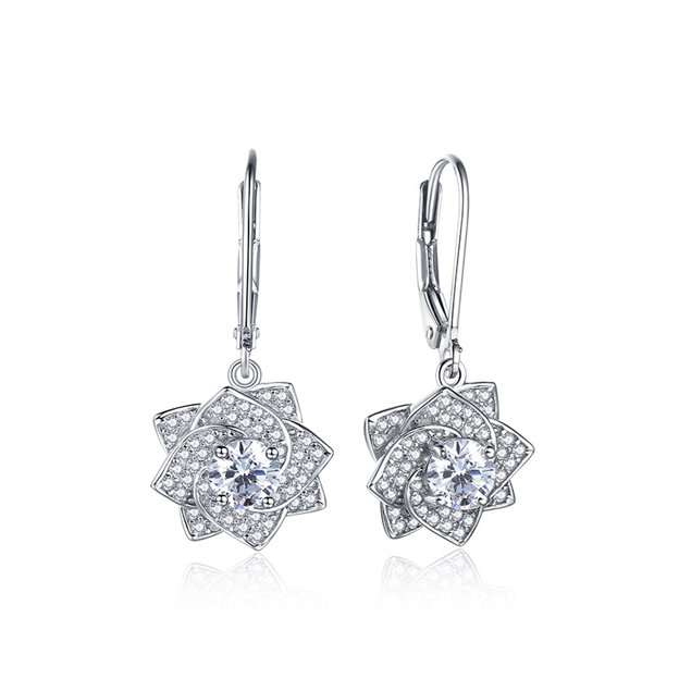 Women's Shining 925 Sterling Silver Earrings With Cubic Zirconia