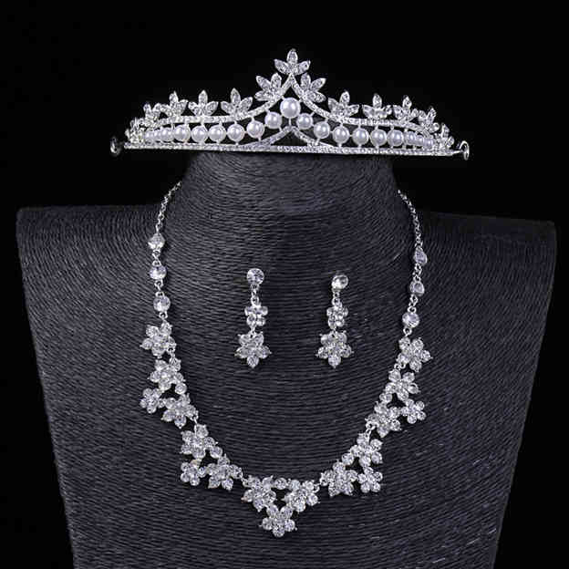 Women's Fancy Silver Jewelry Sets Imitation Pearls Rhinestone For Bride
