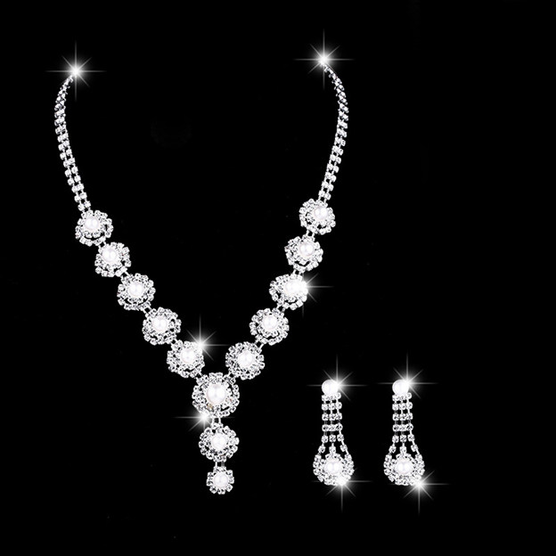 Women's Elegant Silver Jewelry Sets With Imitation Pearls/Rhinestone For Bride