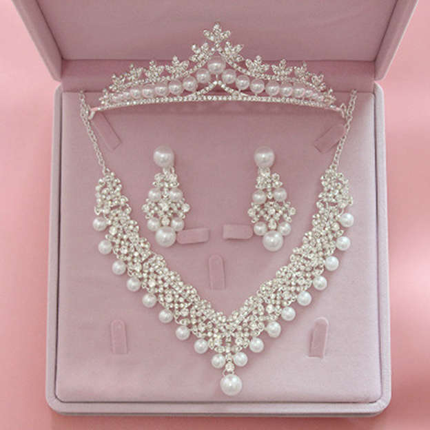 Women's Fashionable Silver Jewelry Sets With Rhinestone/Imitation Pearls For Bride