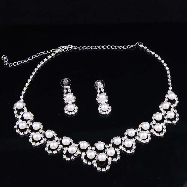 Women's Elegant Silver Jewelry Sets With Imitation Pearls Rhinestone For Bride