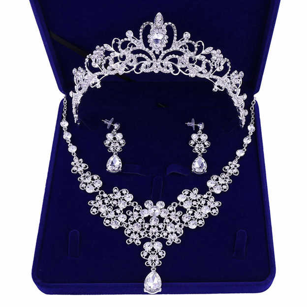 Women's Attractive Silver Jewelry Sets With Rhinestone For Bride