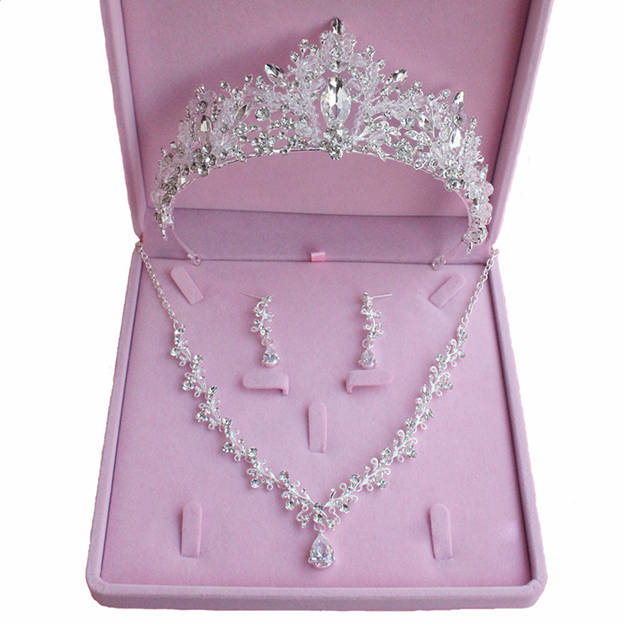 Women's Fashionable Silver Jewelry Sets With Rhinestone/Crystal For Bride