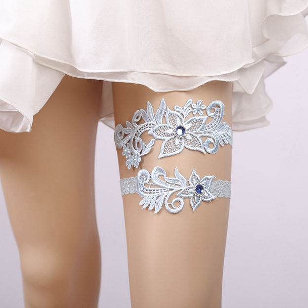 Bridal Elegant Lace Garters With Crystal