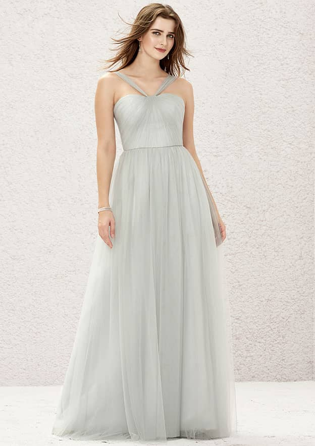 A-line/Princess Sleeveless Long/Floor-Length Tulle Satin Bridesmaid Dress With Pleated