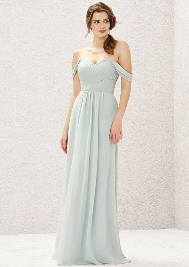 A-line/Princess Long/Floor-Length Chiffon Bridesmaid Dresses With Pleated