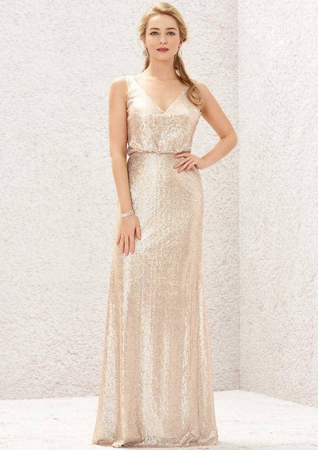 Sheath/Column Sleeveless Long/Floor-Length Sequined Bridesmaid Dress With Pleated