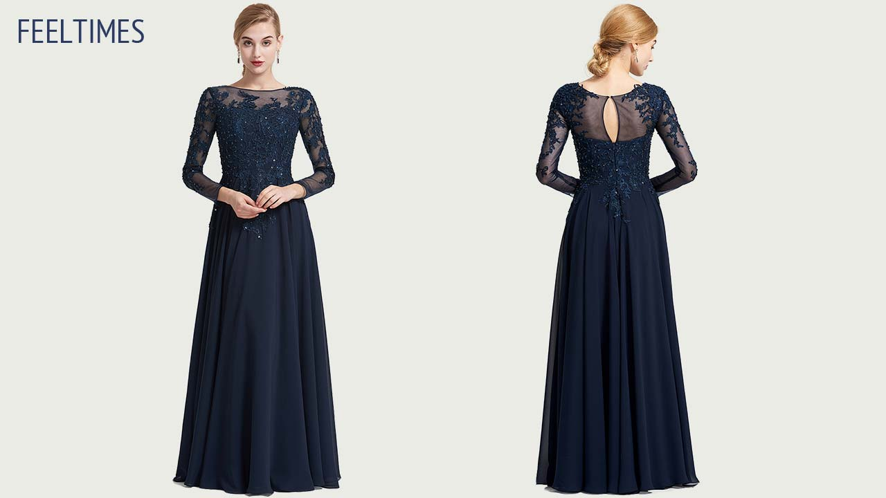 Evening Dresses M18037M丨A-Line/Princess Long Chiffon Evening Dress With Beading Appliqued - FeelTimes