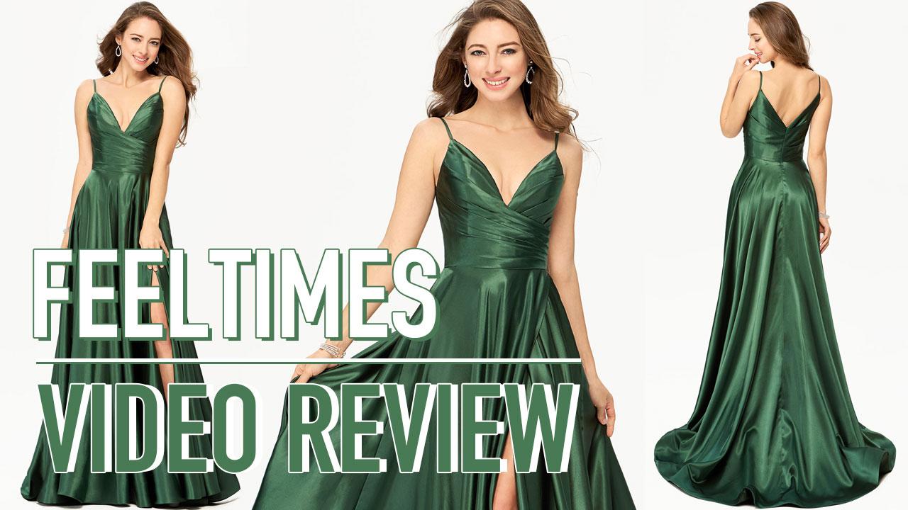 Prom Dresses M19275P丨A-Line Long Charmeuse Dark Green Split Prom Dress - FeelTimes